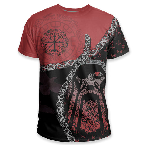 1stIceland Vikings T Shirt, Odin Norse Helm of Awe, Red K5 - 1st Iceland
