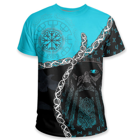 Image of 1stIceland Vikings T Shirt, Odin Norse Helm of Awe, Blue K5 - 1st Iceland