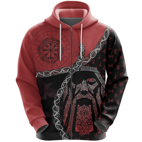 Image of 1stIceland Viking Zip Hoodie, Odin Norse Helm of Awe, Red K5 - 1st Iceland
