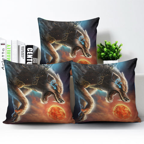 1stIceland Viking Pillow Cover, Fenrir Norse Wolf K5 - 1st Iceland