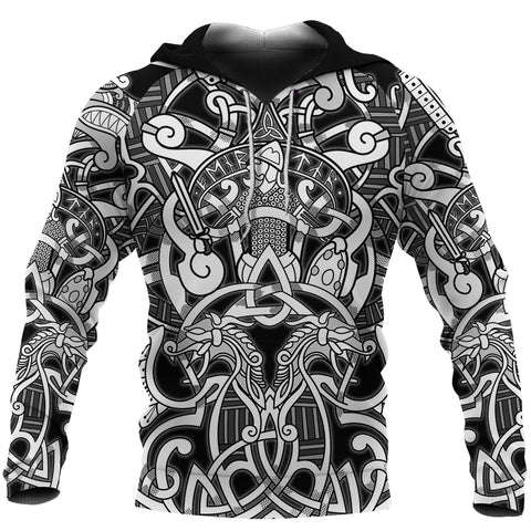 1stIceland Viking Hoodie, Fenrir and Tyr Tattoo K4 - 1st Iceland