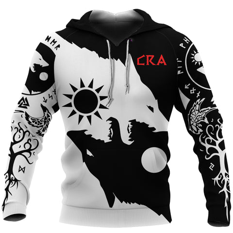 1stIceland Cerakote Refinishing Art (CRA) Vikings Pullover Hoodie, Geri and Freki Norse Wolves TH00 - 1st Iceland