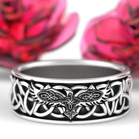 1stIceland Vikings Ring, Odin Raven And Triquetra Pattern Th00 - 1st Iceland