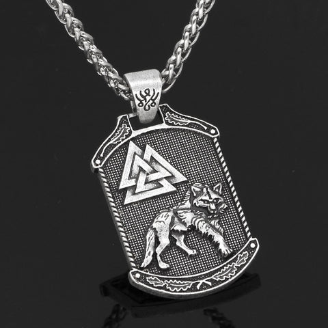 Image of 1stIceland Jewelry, Norse Vikings Odin Wolf Valknut Stainless Steel Necklace - 1st Iceland