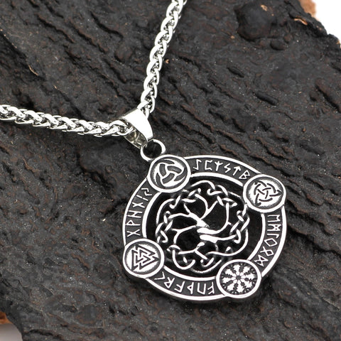 1stIceland Jewelry, Viking Nordic Compass Vegvisir Odin Amulet Stainless Steel Necklace - 1st Iceland