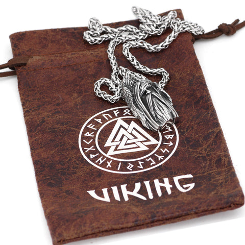 Image of 1stIceland Jewelry, Norse Vikings Amulet Odin Face Raven Stainless Steel Necklace - 1st Iceland