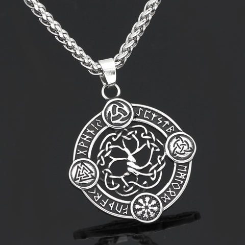 Image of 1stIceland Jewelry, Viking Nordic Compass Vegvisir Odin Amulet Stainless Steel Necklace - 1st Iceland