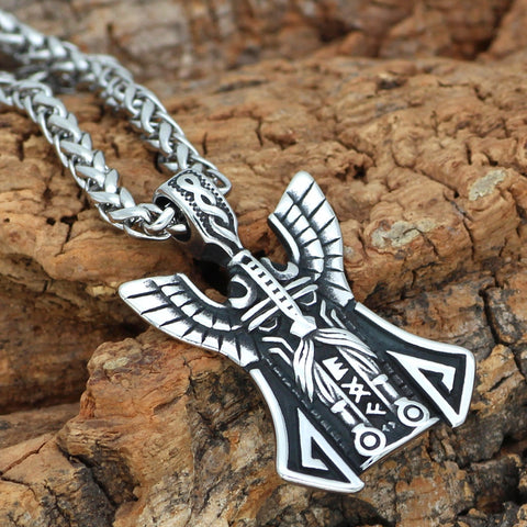 Image of 1stIceland Jewelry, Norse Vikings Odin Face Amulet Rune Stainless Steel Necklace - 1st Iceland