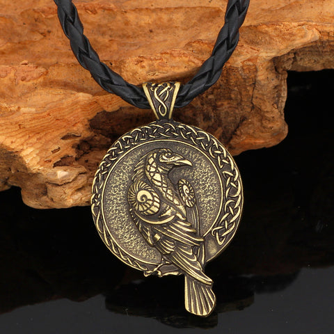Image of 1stIceland Jewelry, Norse Vikings Triple Horn Of Odin Raven Huginn And Muninn Amulet Stainless Steel Necklace - 1st Iceland