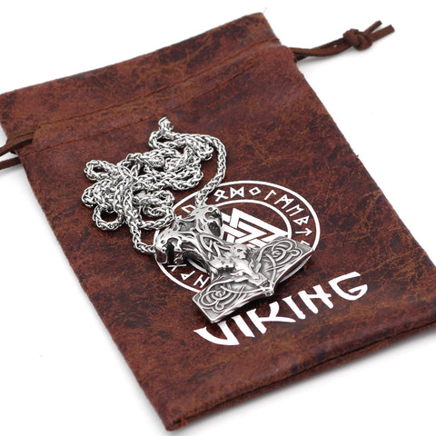 Image of 1stIceland Jewelry, Norse Vikings Wolf Thor Hammer Skull Nordic Mjolnir Stainless Steel Necklace - 1st Iceland