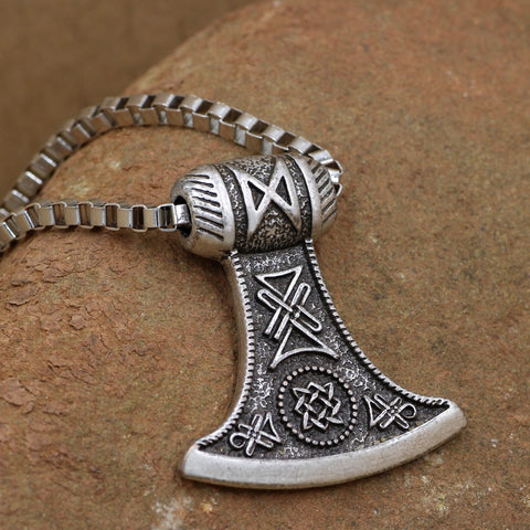 1stIceland Jewelry, Viking Axe Thors Hammer Stainless Steel Necklace - 1st Iceland