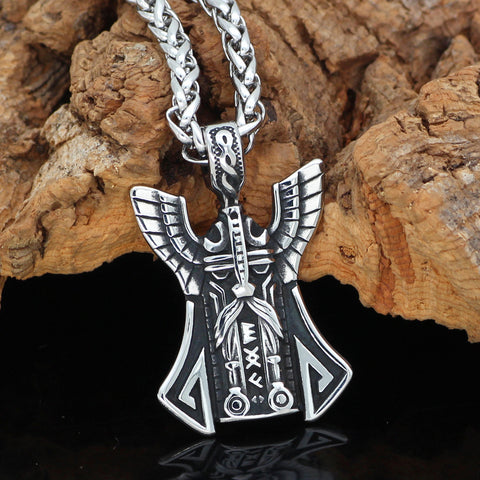 1stIceland Jewelry, Norse Vikings Odin Face Amulet Rune Stainless Steel Necklace - 1st Iceland