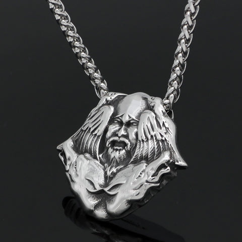 1stIceland Jewelry, Norse Vikings Odin Wolf Raven Stainless Steel Necklace - 1st Iceland