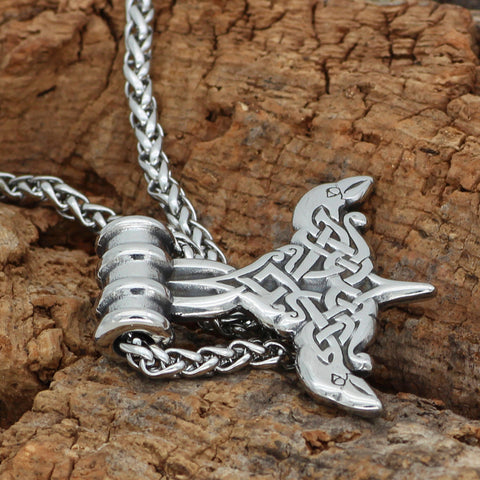 1stIceland Jewelry, Norse Vikings Thor Hammer Mjolnir Odin Raven Rune Stainless Steel Necklace - 1st Iceland