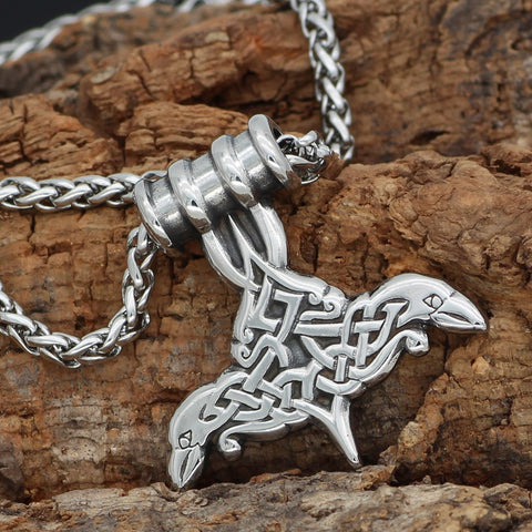 Image of 1stIceland Jewelry, Norse Vikings Thor Hammer Mjolnir Odin Raven Rune Stainless Steel Necklace - 1st Iceland