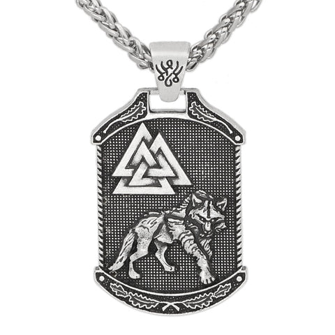 1stIceland Jewelry, Norse Vikings Odin Wolf Valknut Stainless Steel Necklace - 1st Iceland