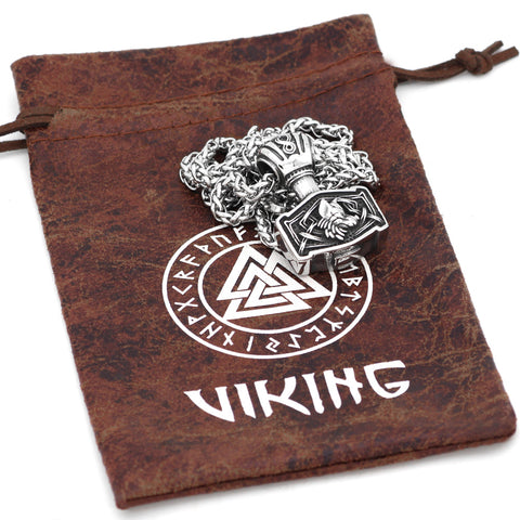 Image of 1stIceland Jewelry, Norse Vikings Thor Hammer Odin Wolf Mjolnir Stainless Steel Necklace - 1st Iceland