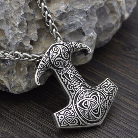 1stIceland Jewelry, Norse Vikings Thor Hammer Odin Raven Symbol Stainless Steel Necklace - 1st Iceland