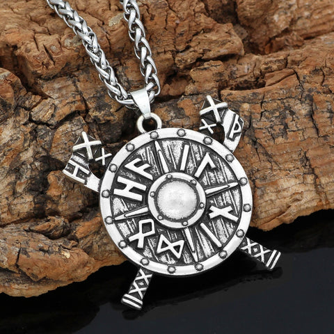 1stIceland Jewelry, Norse Vikings Shield Rune Axe Stainless Steel Necklace - 1st Iceland