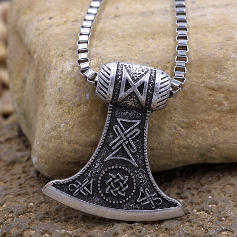 Image of 1stIceland Jewelry, Viking Axe Thors Hammer Stainless Steel Necklace - 1st Iceland