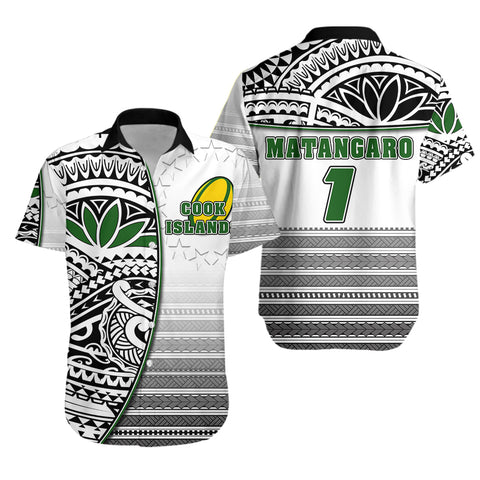 (Custom Personalised) Cook Islands Rugby Hawaiian Shirt Impressive Version Black - Custom Text and Number K13 - MATANGARO - 1st Iceland