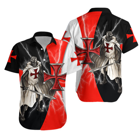 1stIceland Knights Templar Hawaiian Shirt Red Cross Lightning Storm K4