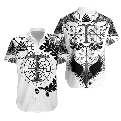Image of 1stIceland Viking Oak Leaf Hawaiian Shirt Valknut Vegvisir With Irminsul - White
