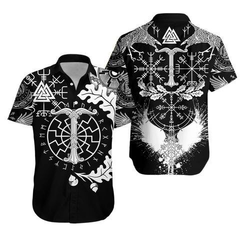 Image of 1stIceland Viking Oak Leaf Hawaiian Shirt Valknut Vegvisir With Irminsul - Black