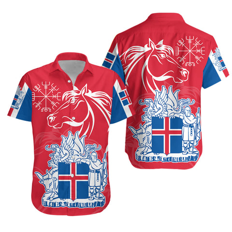1stIceland Icelandic Horse Hawaiian Shirt Coat Of Arms With Helm Of Awe - Red K8 - 1st Iceland
