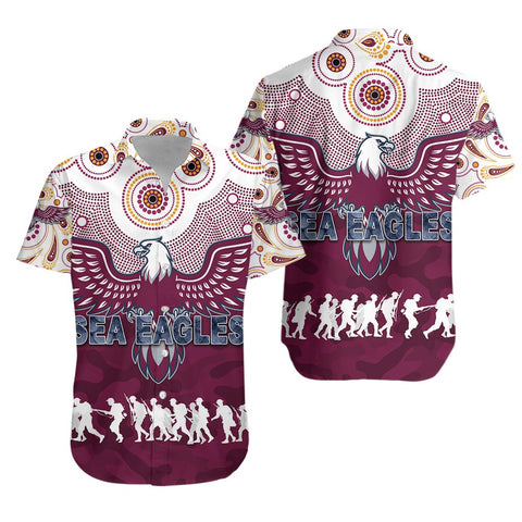 Manly Warringah Hawaiian Shirt Sea Eagles Anzac Day Indigenous K8 - 1st Iceland