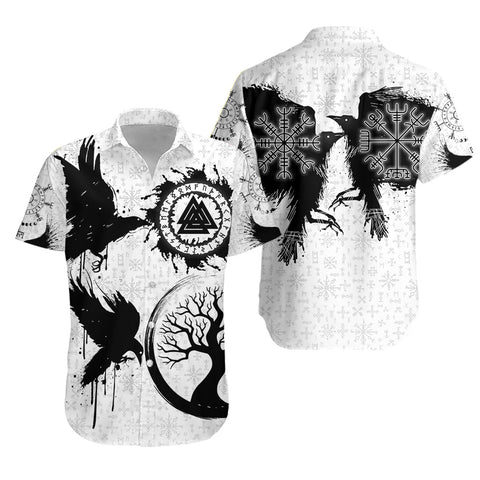 1stIceland Viking Valknut Huginn and Muninn Hawaiian Shirt Yggdrasil, Vegvisir Helm of Awe - White K8 - 1st Iceland