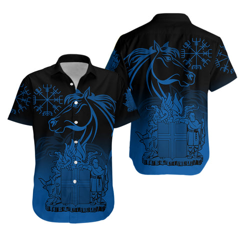 1stIceland Icelandic Horse Hawaiian Shirt Coat Of Arms With Helm Of Awe - Blue Gradient K8 - 1st Iceland