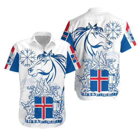 1stIceland Icelandic Horse Hawaiian Shirt Coat Of Arms With Helm Of Awe - White K8 - 1st Iceland
