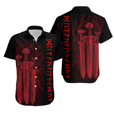 1stIceland Viking Sword Hawaiian Shirt Red