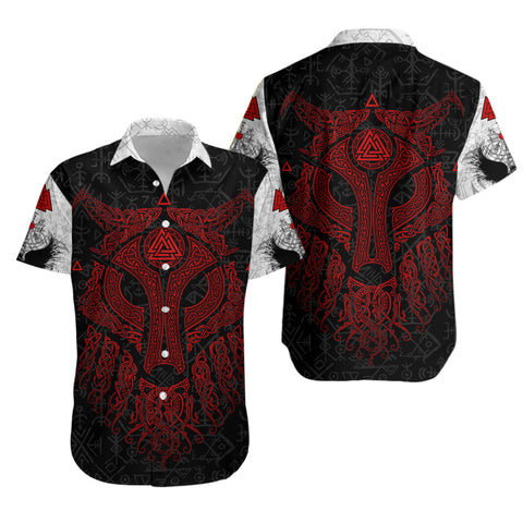 Image of Viking Wolf and Raven Hawaiian Shirt Valknut Runes Red | 1stIceland