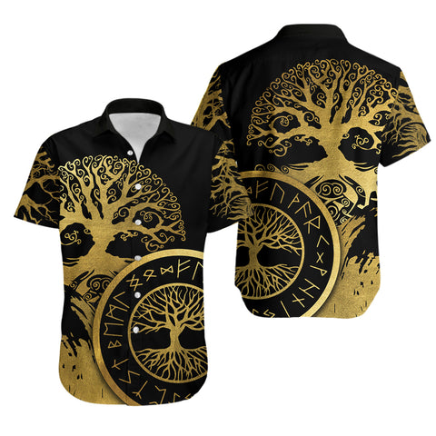 1stIceland Viking Yggdrasil Hawaiian Shirt Gold TH4 - 1st Iceland