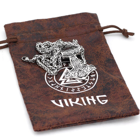Image of 1stIceland Jewelry, Norse Vikings Thor Hammer Mjolnir Odin Wolf Valknut Stainless Steel Necklace - 1st Iceland