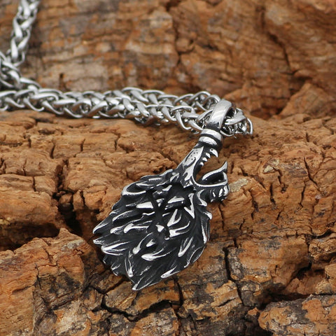 1stIceland Jewelry, Norse Vikings Odin Wolf Geri and Freki Amulet Stainless Steel Necklace - 1st Iceland