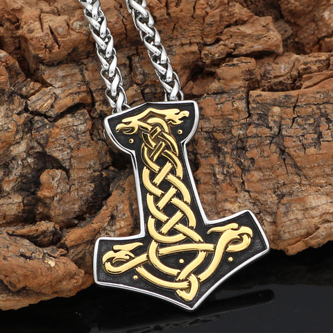 Image of 1stIceland Jewelry, Norse Vikings Mjolnir Thor Hammer Jormungand Stainless Steel Necklace - 1st Iceland