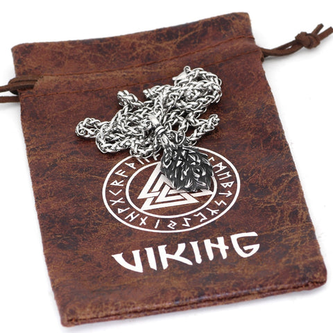 Image of 1stIceland Jewelry, Norse Vikings Odin Wolf Geri and Freki Amulet Stainless Steel Necklace - 1st Iceland
