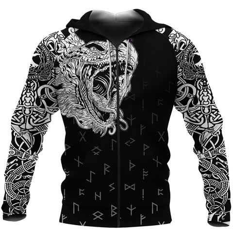 1sticeland Viking Hoodie, Norse Jormungandr the Midgard Serpent Th00 - 1st Iceland