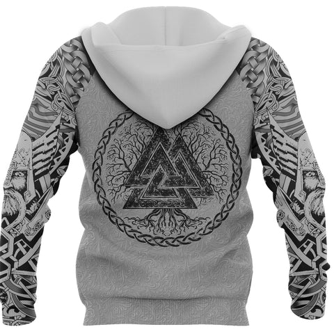 1stIceland Viking Zip Up Hoodie, Fenrir Skoll And Hati Valknut White TH00 - 1st Iceland