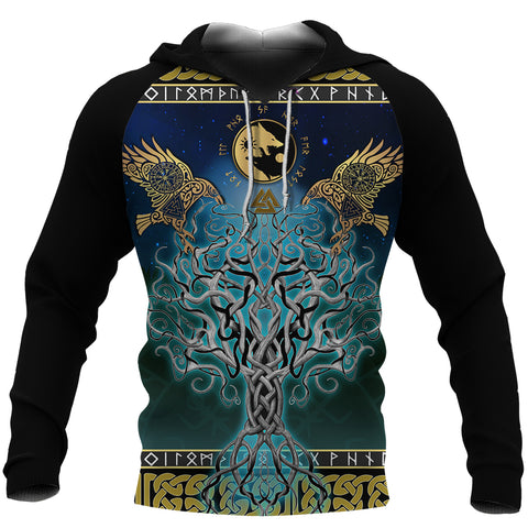 1stIceland Viking Hoodie, Tree Of Life Fenrir Skoll And Hati Raven Rune TH00 - 1st Iceland
