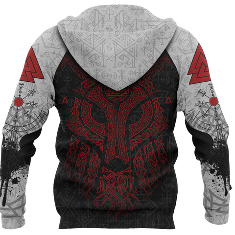 Viking Wolf and Raven Hoodie Valknut Runes Red Back | 1stIceland