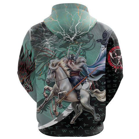 Image of The Viking Runes Zip Hoodie Odin And Sleipnir K13 - 1st Iceland