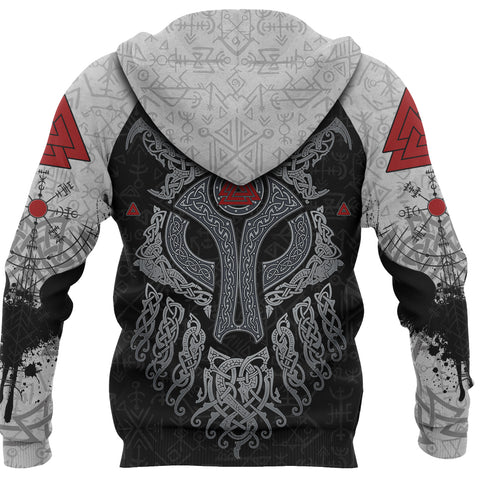 Viking Wolf and Raven Zip Up Hoodie Valknut Runes Back | 1stIceland