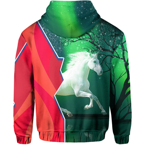 Image of 1stIceland Horse Zip Hoodie Northern Lights Back | 1sticeland.com