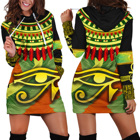 1stIceland Horus Eye Hoodie Dress Ankh Egypt Eagle Wings K8 - 1st Iceland