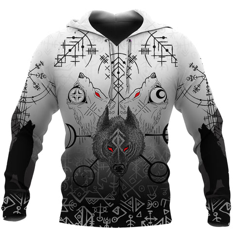 1stIceland Viking Wolf Hoodie Runes Special Front | 1stIceland
