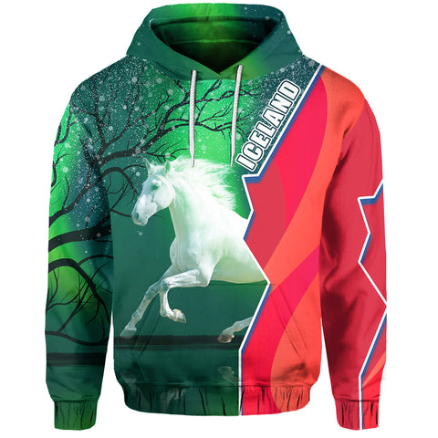 Image of 1stIceland Horse Hoodie Northern Lights Front | 1sticeland.com